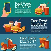 Three horizontal banner for fast food delivery.