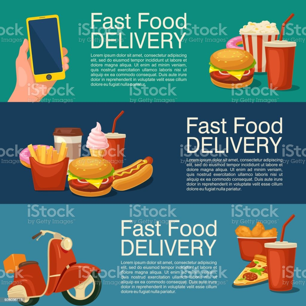 Three horizontal banner for fast food delivery. vector art illustration