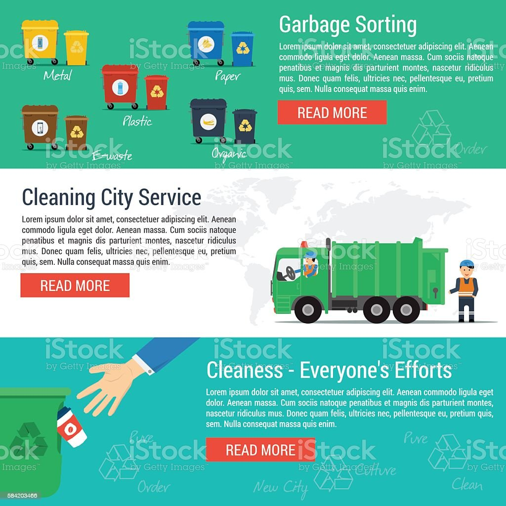 Three horizontal banners - cleaning city service vector art illustration