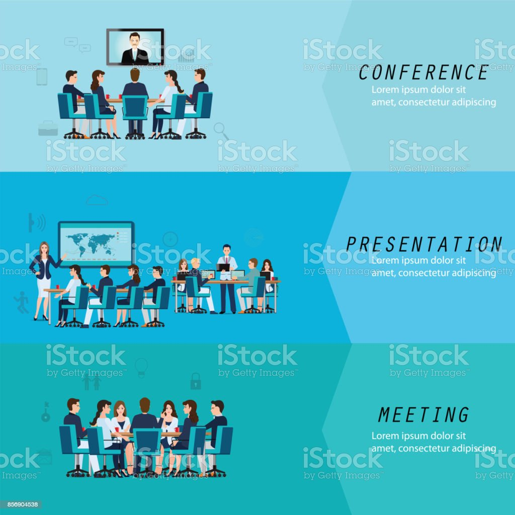 Three horizontal vectors set with business meeting. vector art illustration