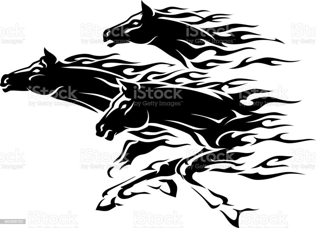Three Horses Flame Abstract vector art illustration