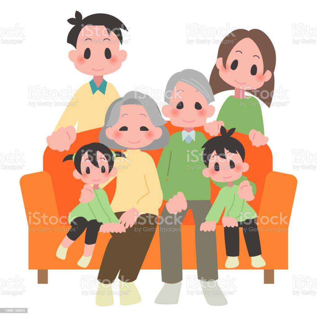 3 世帯家族 ベクターアートイラスト