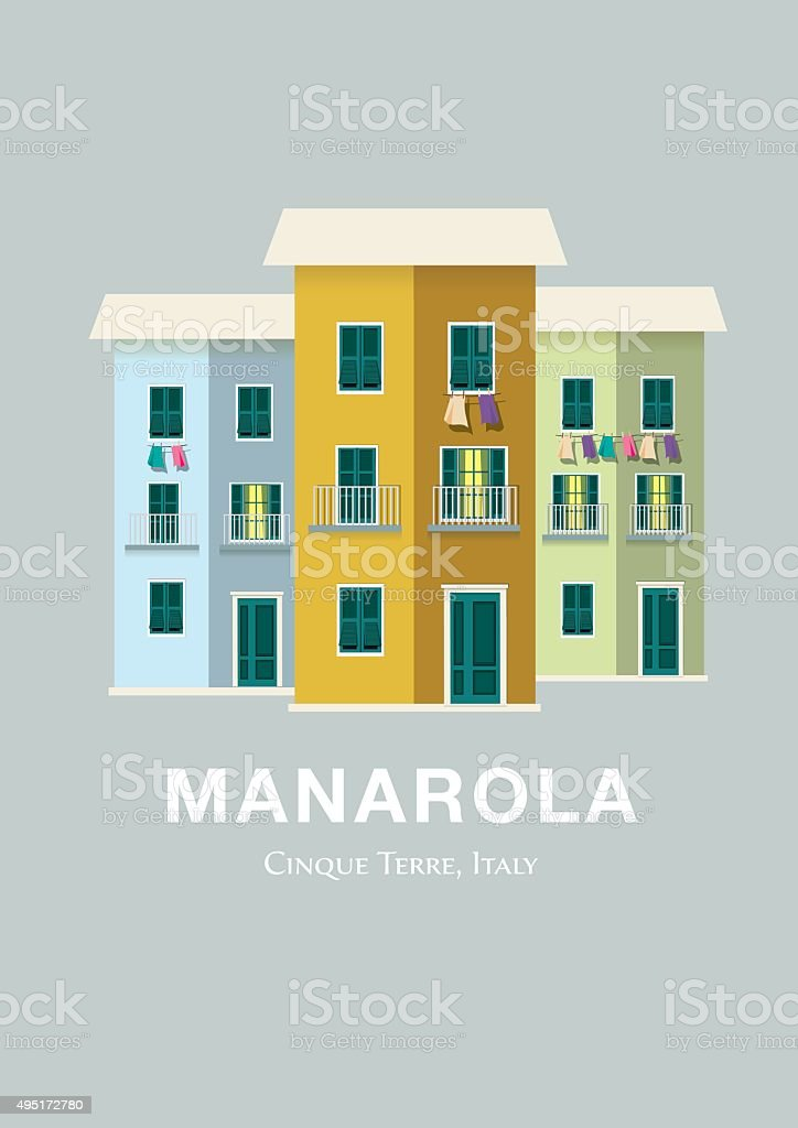 Three Houses in Manarola, Italy vector art illustration