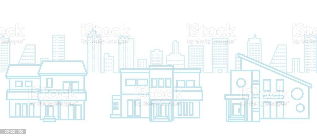 Three Houses in urban background vector art illustration