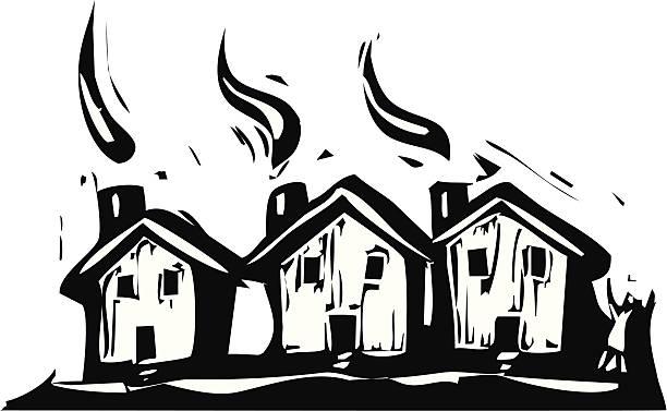 stockillustraties, clipart, cartoons en iconen met three houses - houtgravure