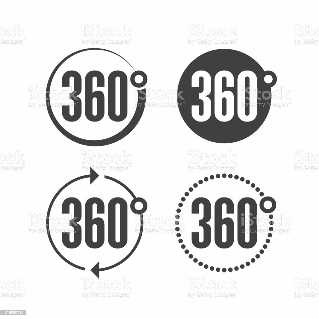 three hundred sixty degrees view signs vector art illustration