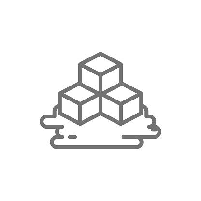 Three ice cubes line icon.