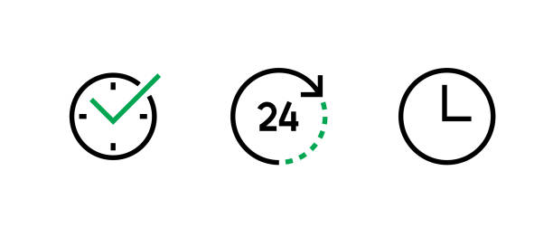 Three icon Clock. Simple sign for web site and mobile app. Editable Vector Outline. vector art illustration