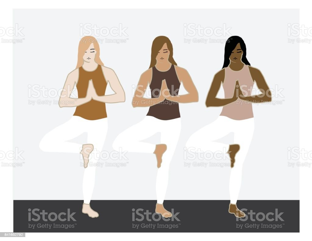 Three illustrated women in a yoga posture.  Tree Pose, various skin tones. vector art illustration
