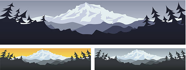 Three illustrations of mountain scenery Mountain scene banner with room for text mt hood stock illustrations