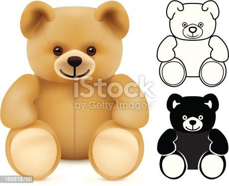 Three versions of a teddy bear.
