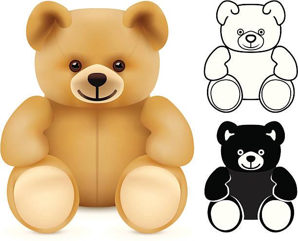 Three illustrations of teddy bears vector art illustration