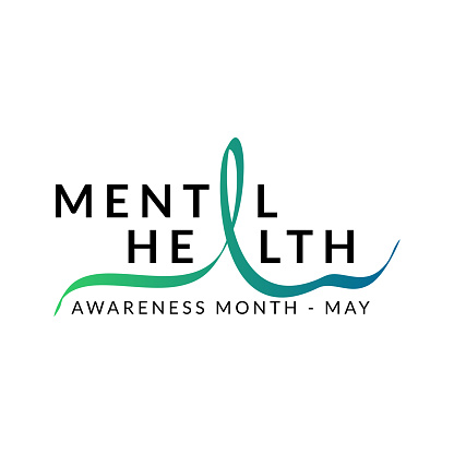 Three Important reminders poster. Mental Health Awareness Month in May. Annual campaign in United States. Raising awareness of mental health. Control and protection. Prevention campaign. Medical health care design.