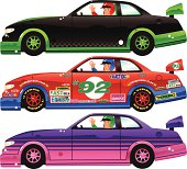 Three isolated and different stock racing cars, plus waving drivers. The advertisement designs on the red car are also isolated and on a separate layer from the car underneath. They have been added for illustrative purposes, and can be re / moved if you wish to place your own messages instead. All adverts are generic and feature common words related to car racing, and can be used to augment your own design. Car designs are; red/blue, black/green and purple/pink.