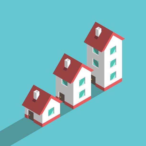 bildbanksillustrationer, clip art samt tecknat material och ikoner med tre isometriska hus, tillväxt - bebyggelse