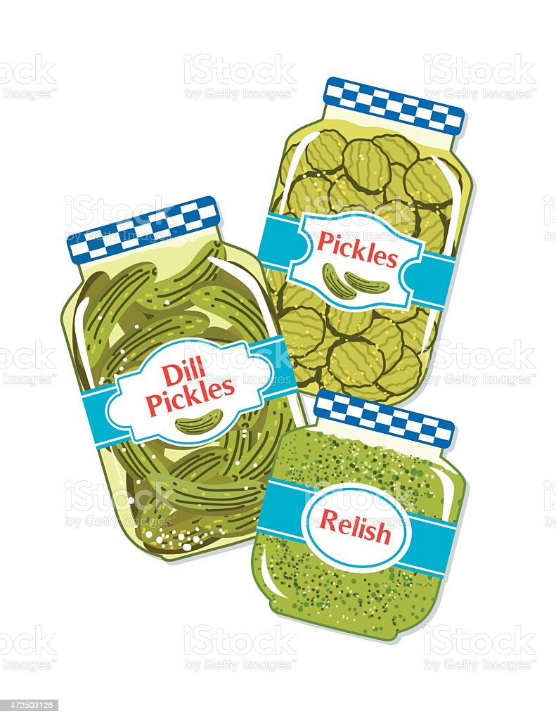 Three Jars Of Pickles And Relish vector art illustration
