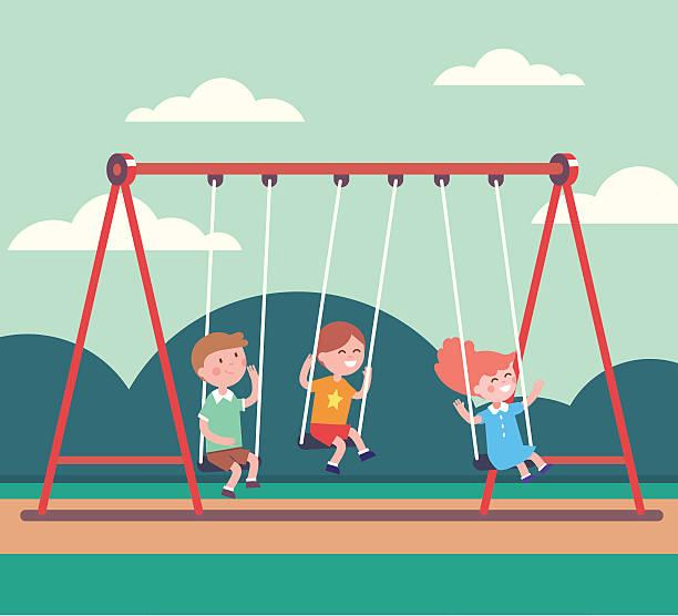 ilustrações de stock, clip art, desenhos animados e ícones de three kids boys and girl swinging in public park - balouço