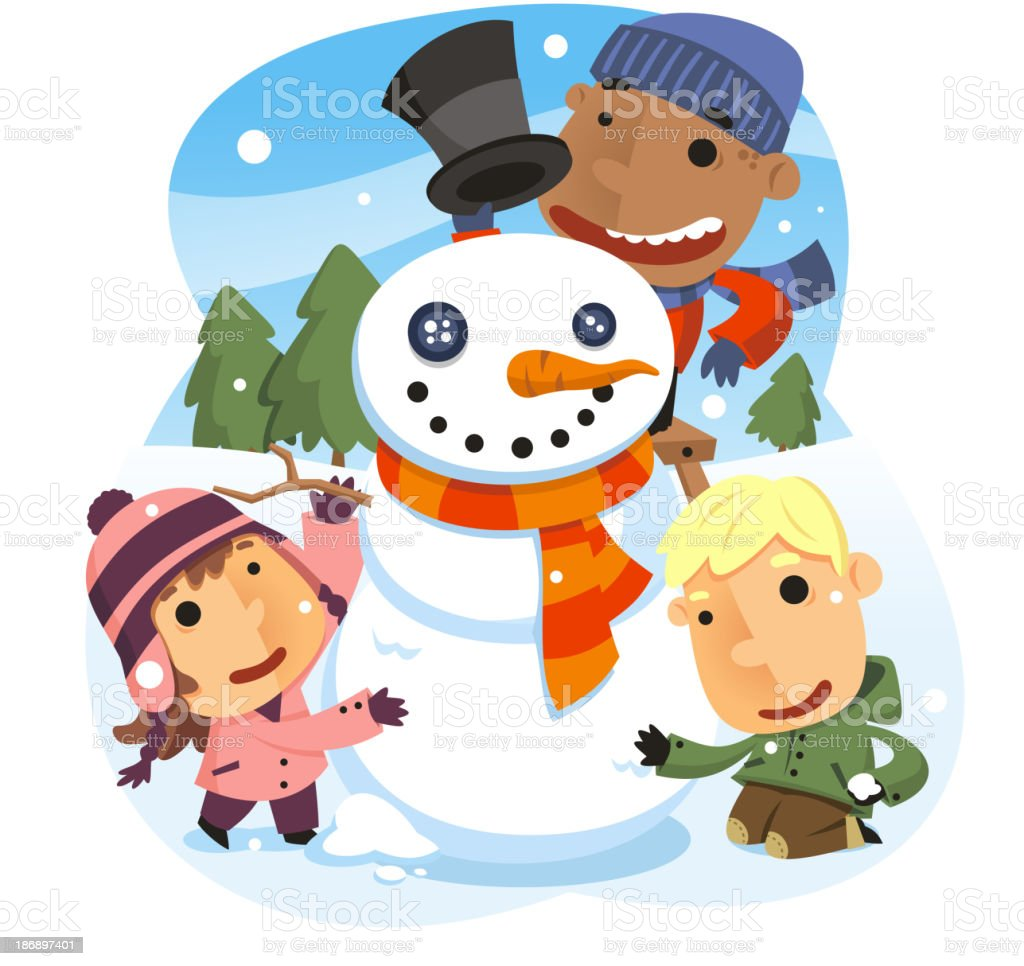 Three Kids building snowman Pine Tree Snow Snowflake royalty-free stock vector art