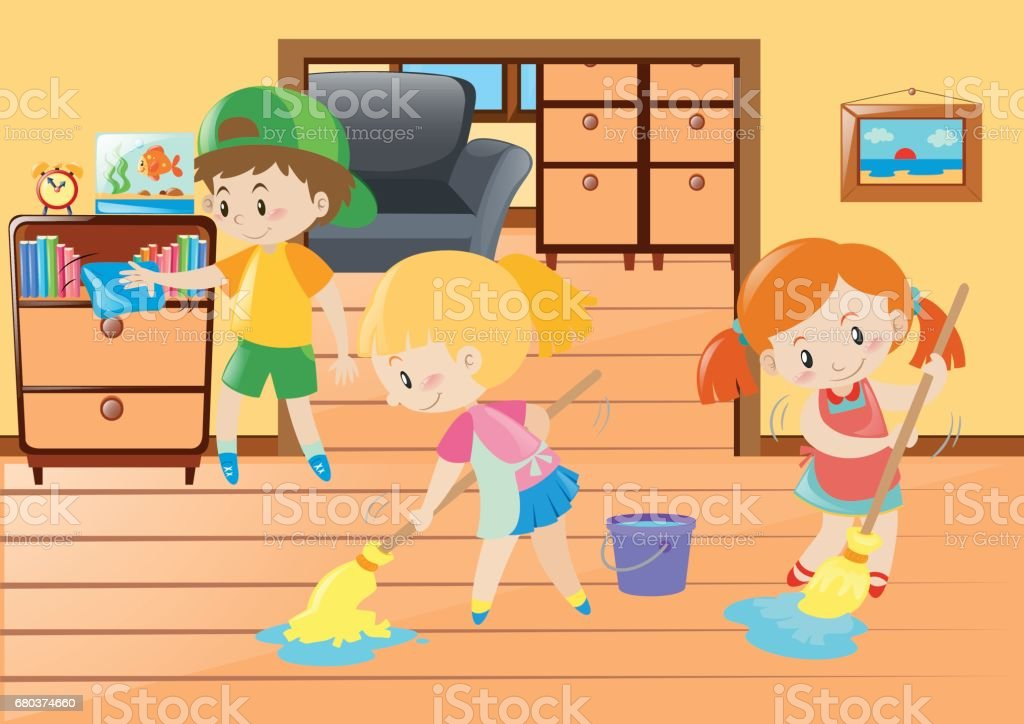 Three kids cleaning in the house royalty-free three kids cleaning in the house stock vector art & more images of art