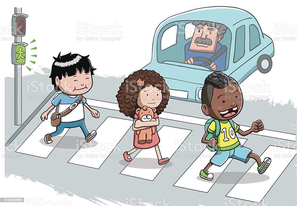 Three Kids crossing the street vector art illustration