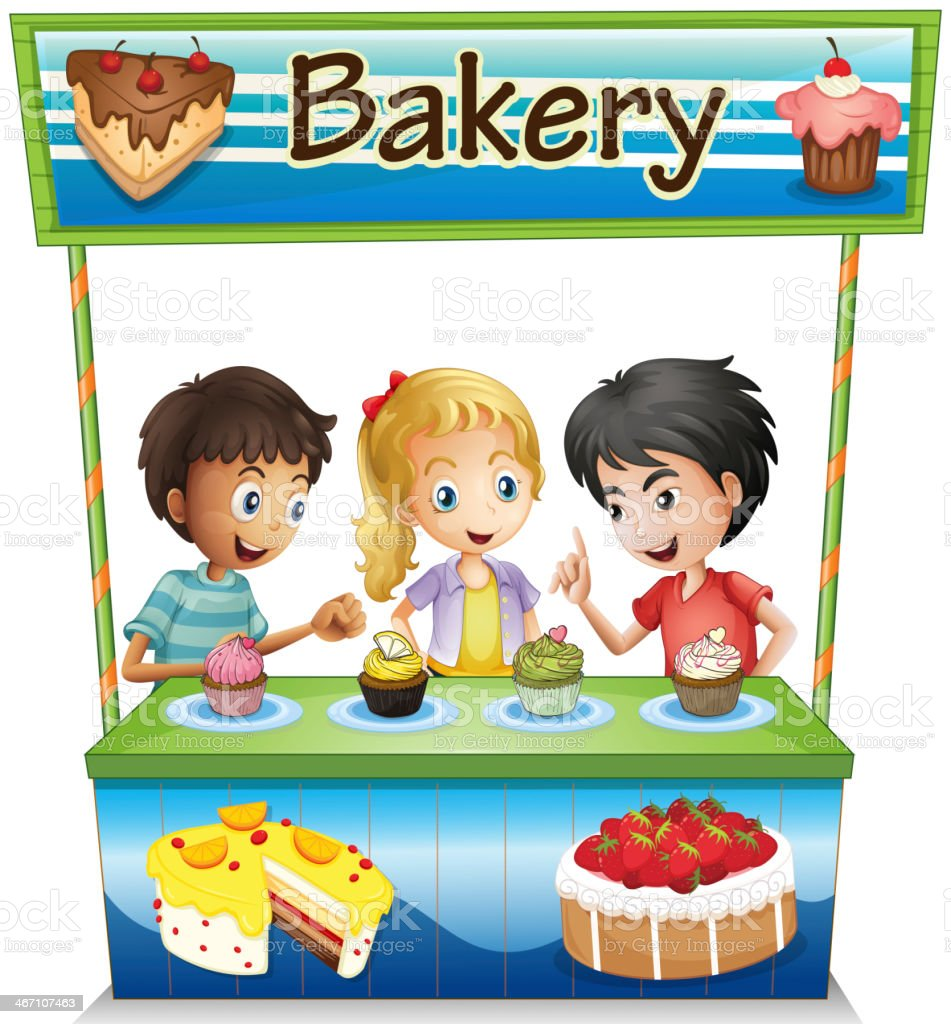Three kids in a bakery stand with cupcakes royalty-free stock vector art