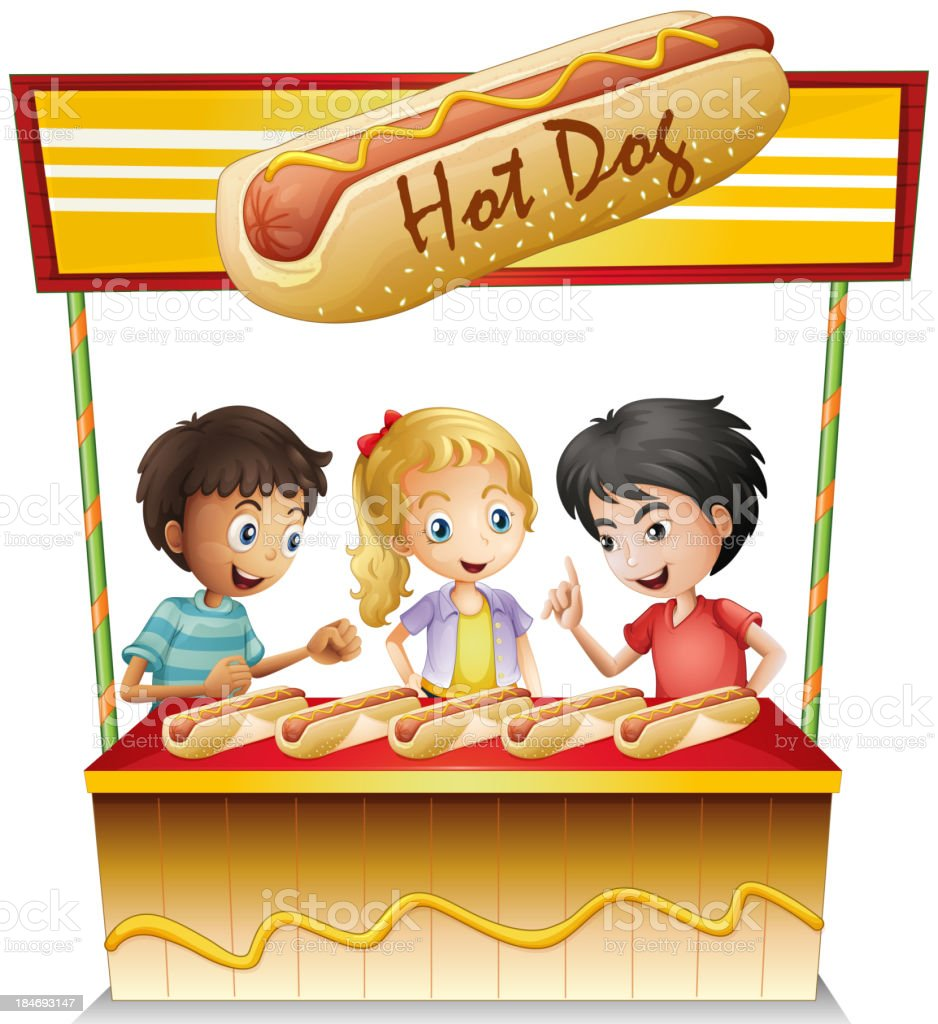 Three kids in a hotdog stand royalty-free three kids in a hotdog stand stock vector art & more images of at the edge of