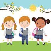 Vector illustration of three kids in school uniform going to school