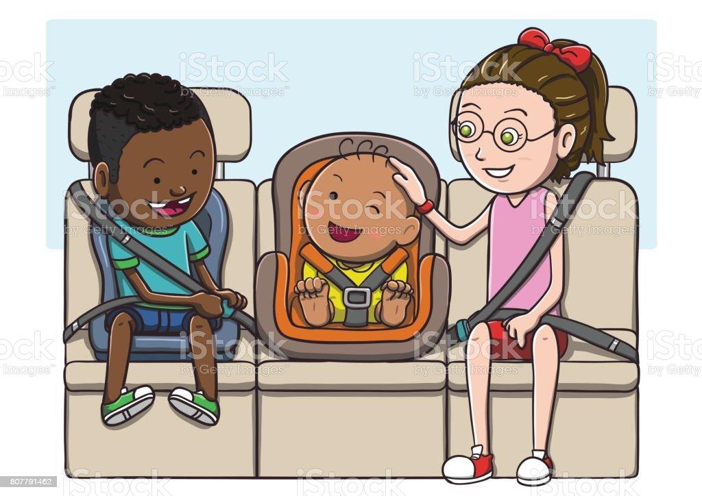 Three kids in the backseat using safety belt vector art illustration