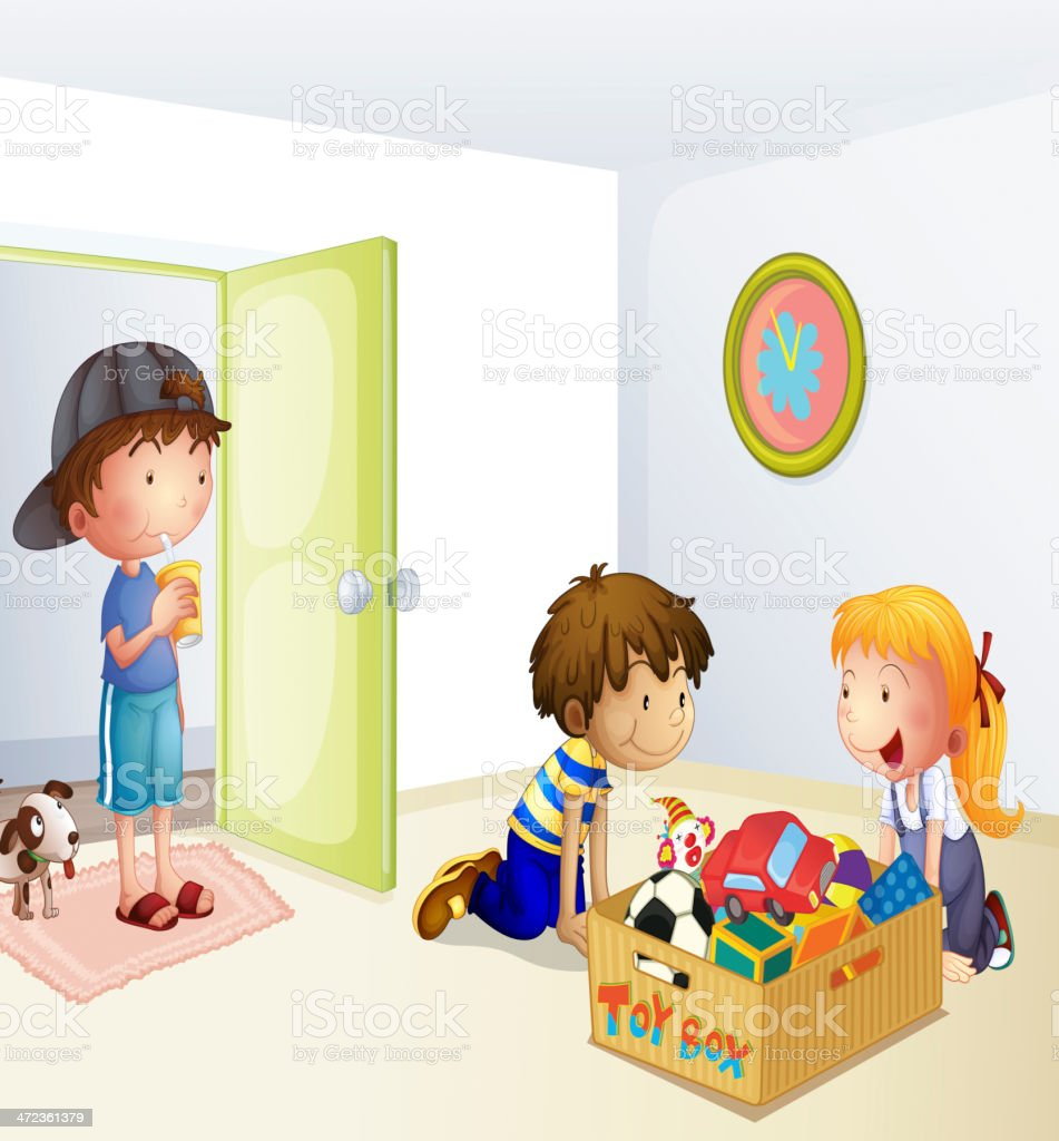 Three kids inside the house with a box of toys royalty-free stock vector art