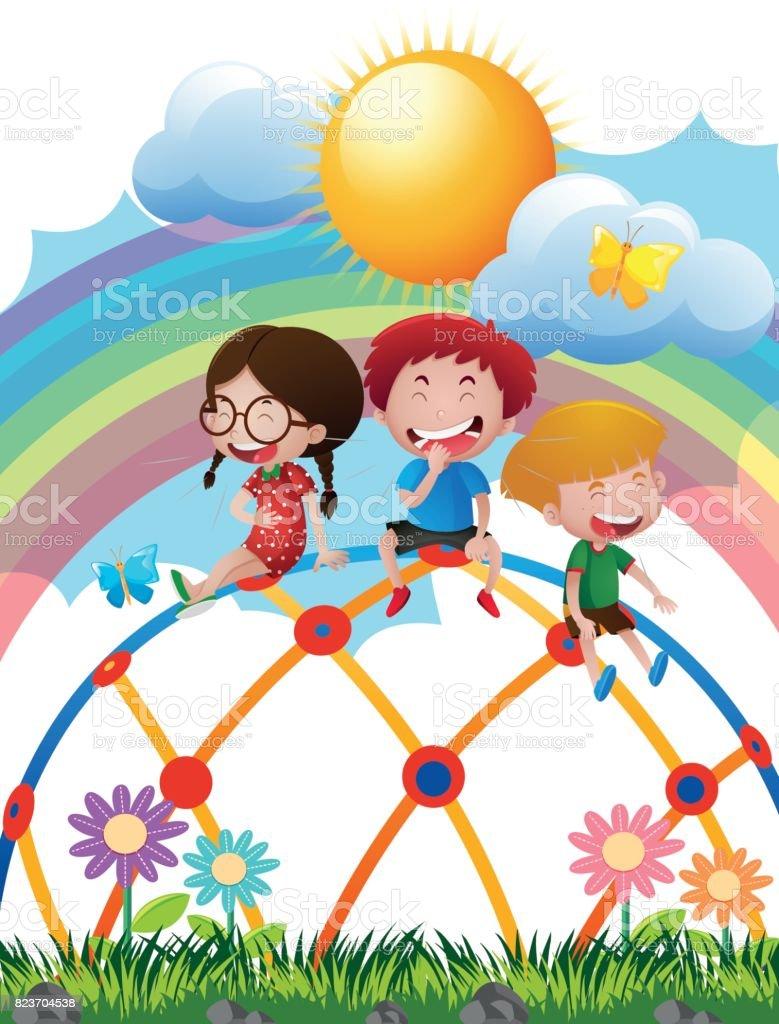 Ilustración de Tres Niños En El Domo En El Parque De Escalada y más ...