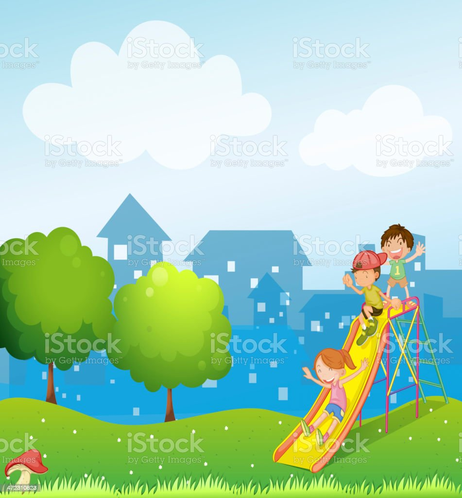 Three kids playing at the playground royalty-free stock vector art