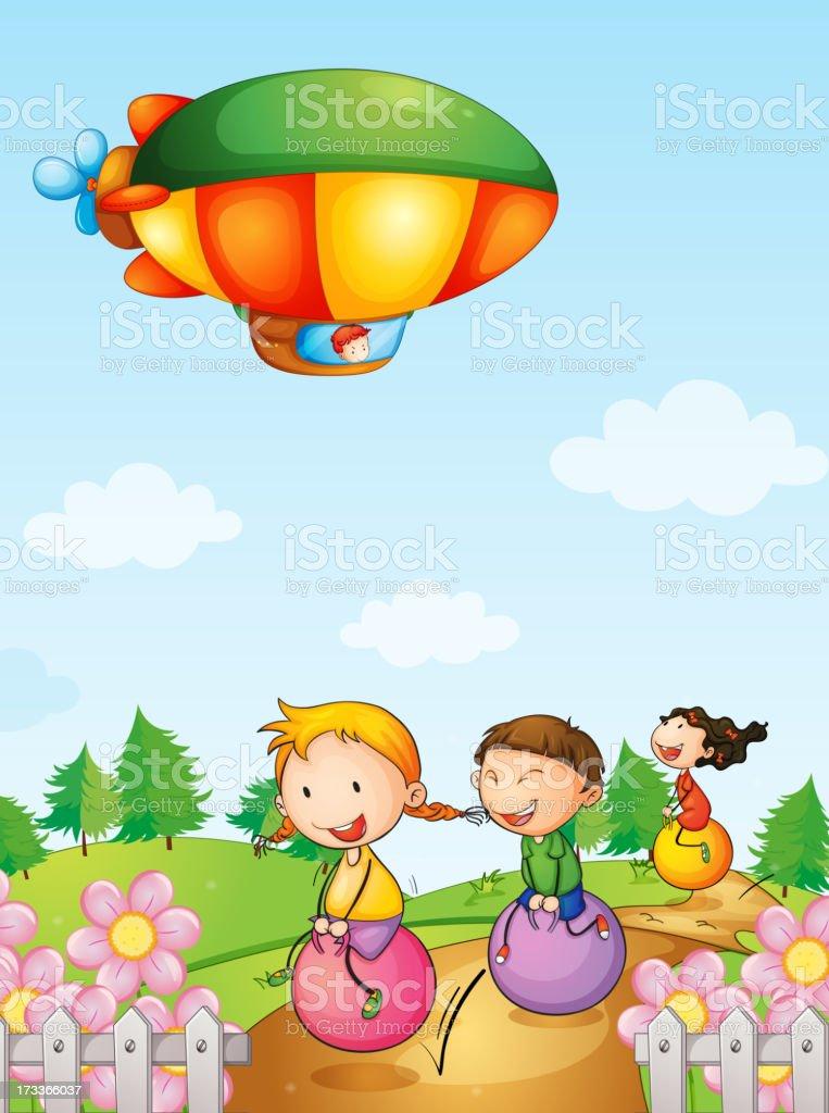 Three kids playing below an airship royalty-free stock vector art