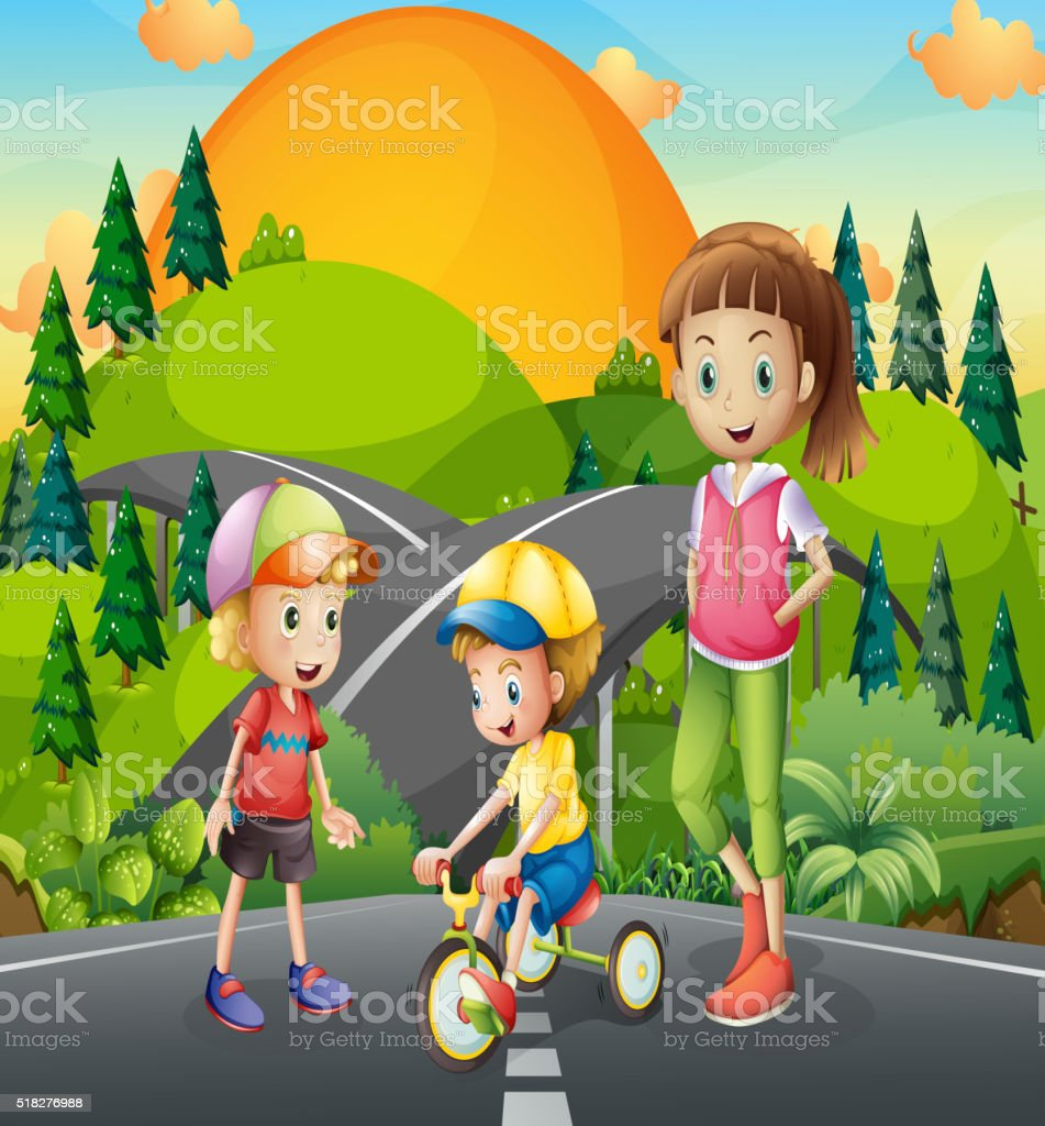 Three kids playing on the road vector art illustration