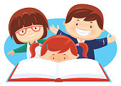 vector illustration of three children reading book