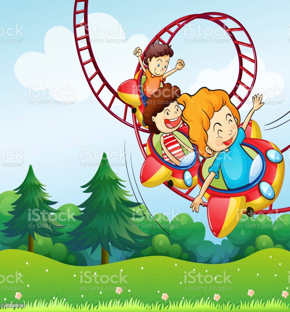 Three kids riding in the roller coaster royalty-free stock vector art