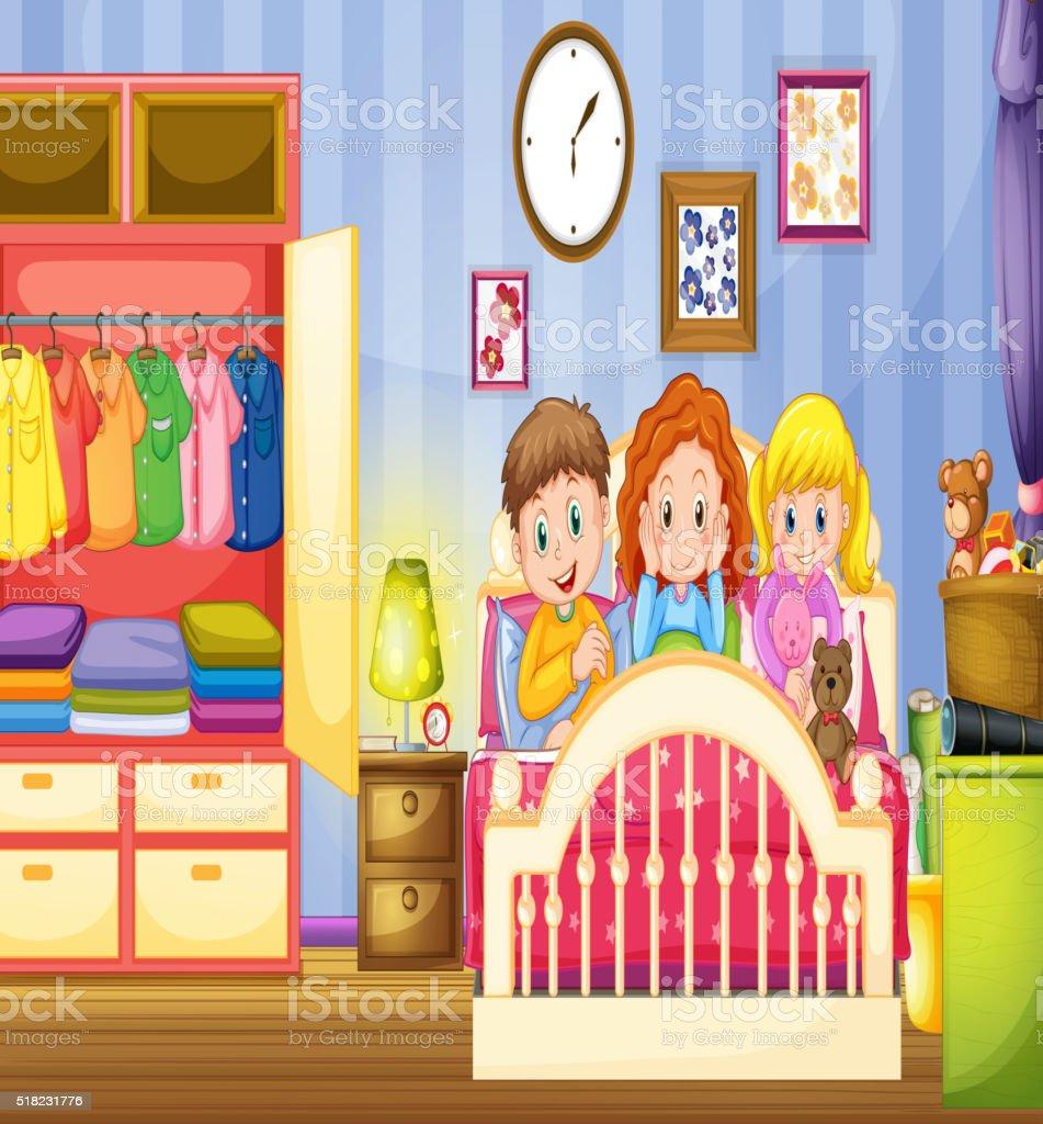 Tres ni os de dormir en el dormitorio arte vectorial de for Dormitorio animado