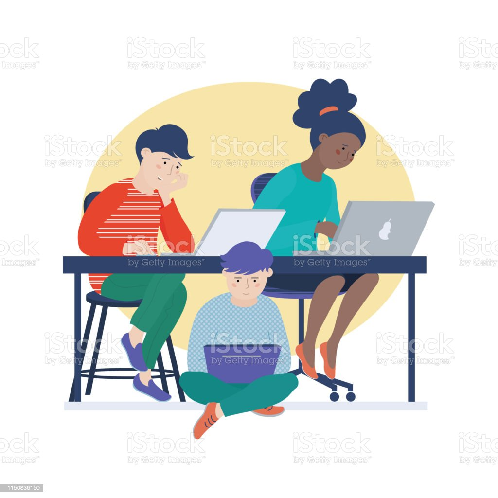 Three kids working on computers, doing homework Group of three children, teenage kids, two boys and African American girl working on computers, doing homework on laptops, vector illustration isolated on white background Activity stock vector