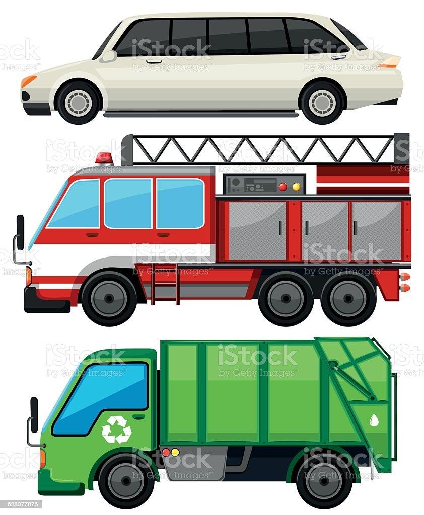 Three kind of transportations vector art illustration