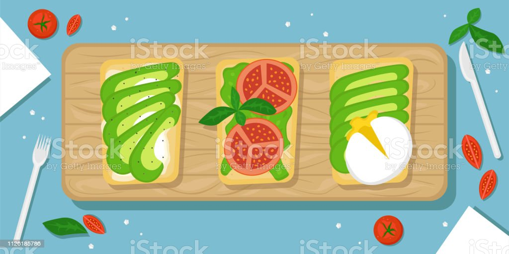 Three kinds of avocado toast. Beautiful food background with wooden cutting Board, cherry tomatoes, salt crystals and Cutlery. Flat vector illustration. The top view. vector art illustration