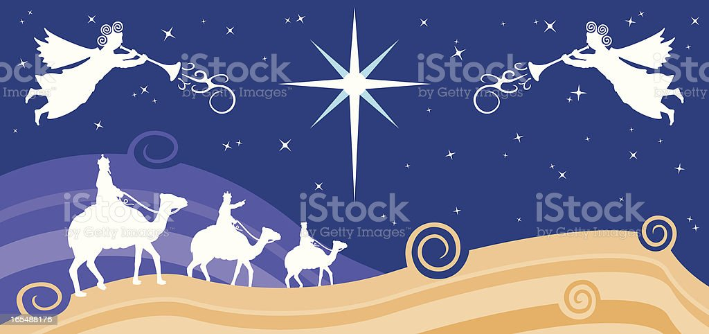Three Kings, 3 Wise Men Riding Camels Christmas Vector Illustration This vector illustration shows silhouettes of three kings or wise men as they ride camels toward the bright star in a night desert scene with rolling sand dunes. Two angels in the night sky sound trumpets of Christmas joy. The image's main color scheme is beige, white, and deep blue. Adult stock vector