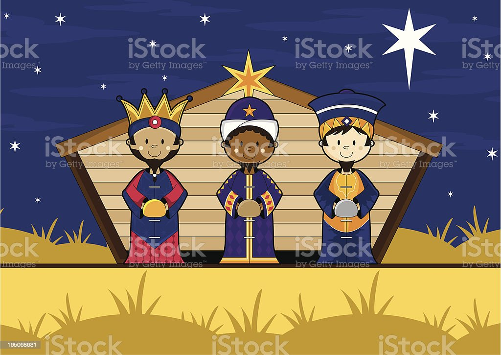 Three kings in Nativity Barn royalty-free stock vector art