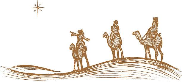 ilustrações de stock, clip art, desenhos animados e ícones de três king's viagem esboço - reis magos