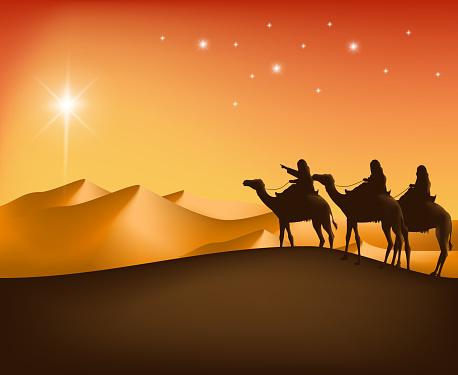 Three Kings riding camels through the desert toward a star