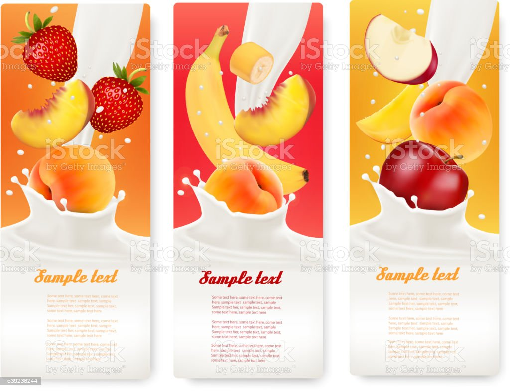 Three labels with different fruit falling into splashes of milk. royalty-free three labels with different fruit falling into splashes of milk stock vector art & more images of abstract