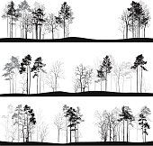 Three landscape backdrops with varying amounts of trees