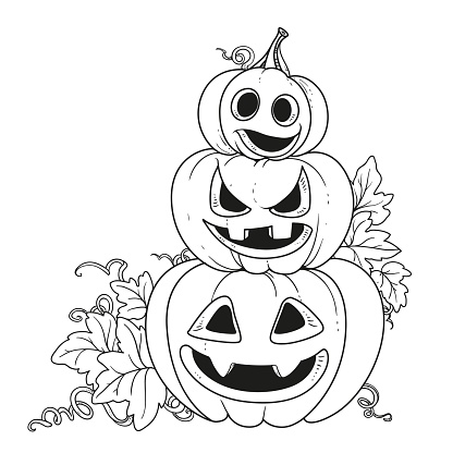 Three lantern from pumpkins with the cut out of a grin stand one