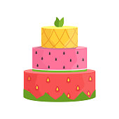 Three Layered Cake With Strawberry, Watermelon And Pineapple Decorated Big Special Occasion Party Dessert For Wedding Or Birthday Celebration