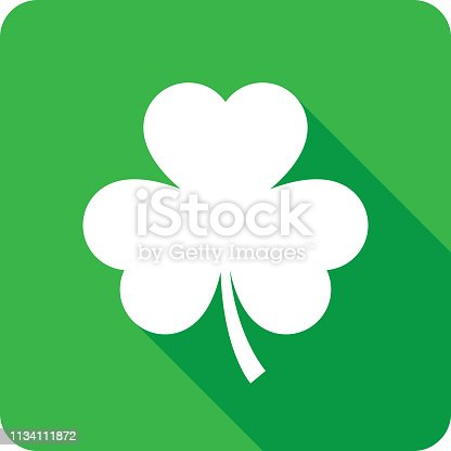 Vector illustration of a green three leaf clover icon in flat style.