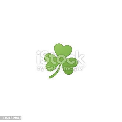istock Three Leaf Clover Isolated Realistic Vector Icon. Clover Illustration Emoji, Emoticon, Icon 1199025800