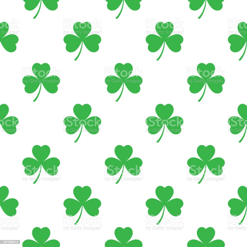 Three Leaf Clovers Seamless Pattern Stock Vector Art More Images
